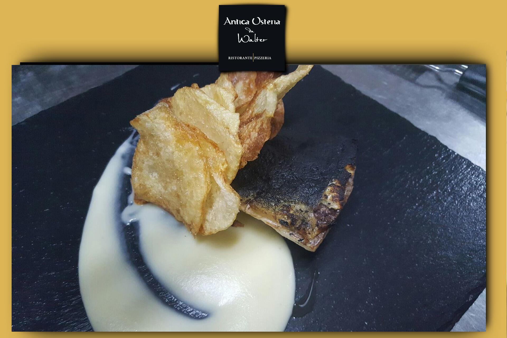 Filetto di ombrina in crosta di olive nere e chips croccanti